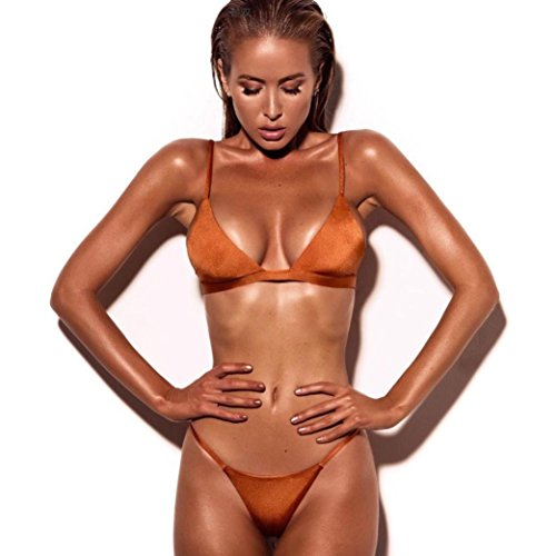 b8fe4fe1538 Dressin Women's Bikini Set Sexy Solid Push-up Padded Bra Swimsuit Two Piece  Tankinis Bathing Suit Beachwear Swimwear (Orange, S)