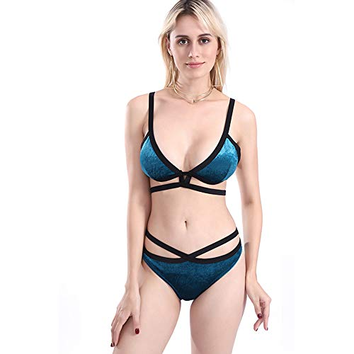 ba17b2c6e4e07 KIYHPYP Women s Sexy Detachable Padding Cups Cutout Push Up Velvet Bikini  Set Two Piece Swimwear Bathingsuit (M