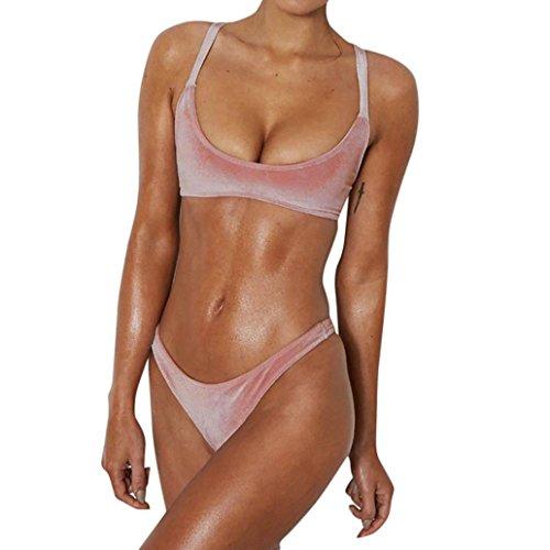 60489419dda12 Coohole Women's Two Piece Velvet Solid Bandage Bikini Set Swimsuits Swimwear  Beach Suit (XL, Pink)